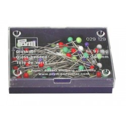 Glass headed pins. Assorted colours 30mm x 0.60mm 10 g box